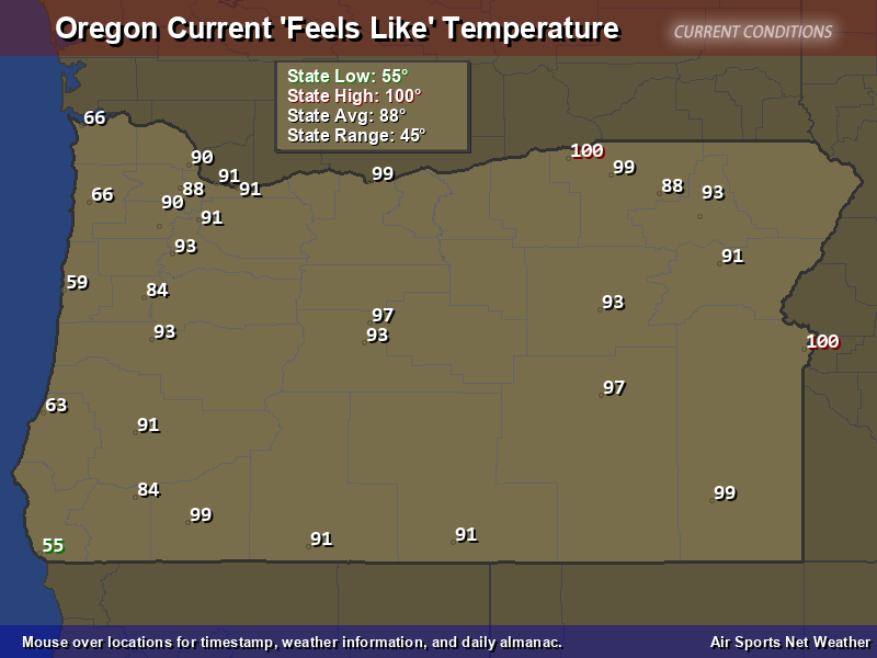 Oregon Feels Like Temperature Map
