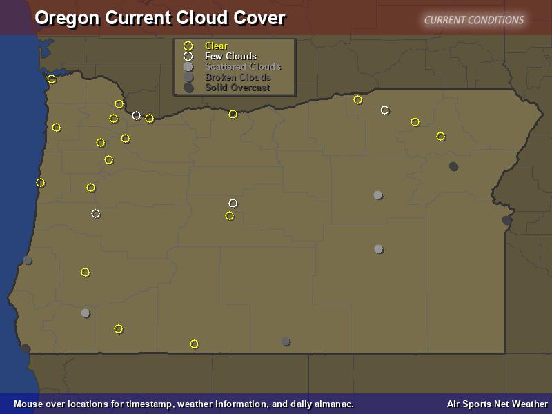 Oregon Cloud Cover Map