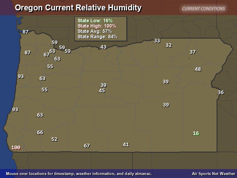 Oregon Relative Humidity Map