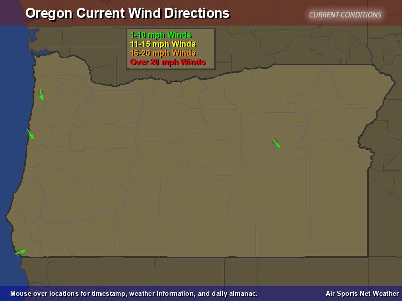 Oregon Wind Direction Map
