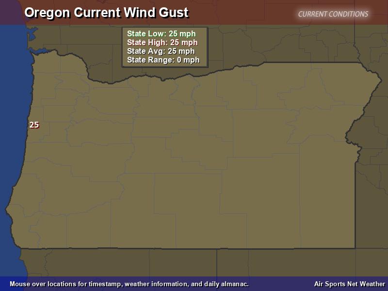 Oregon Wind Gust Map