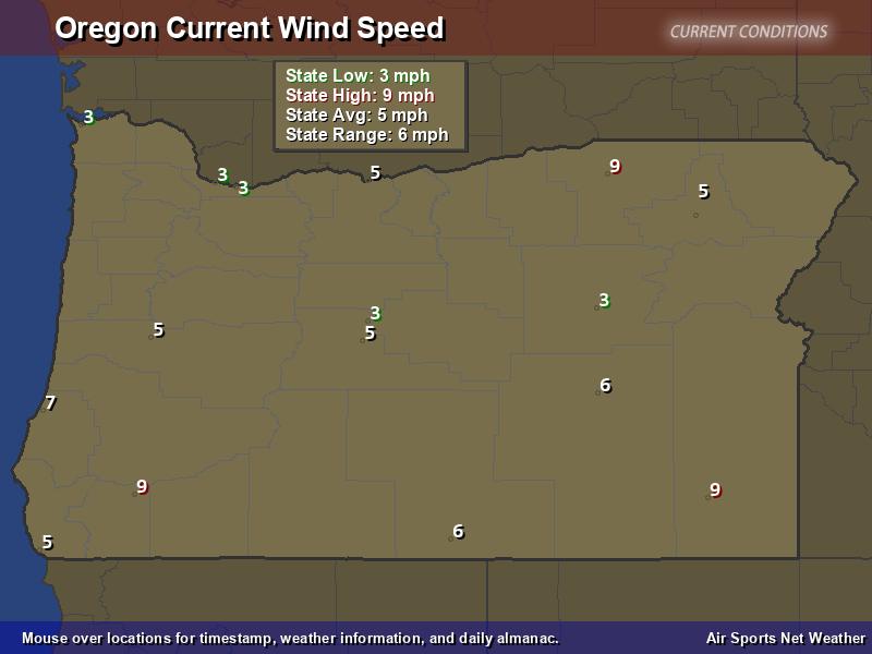 Oregon Wind Speed Map