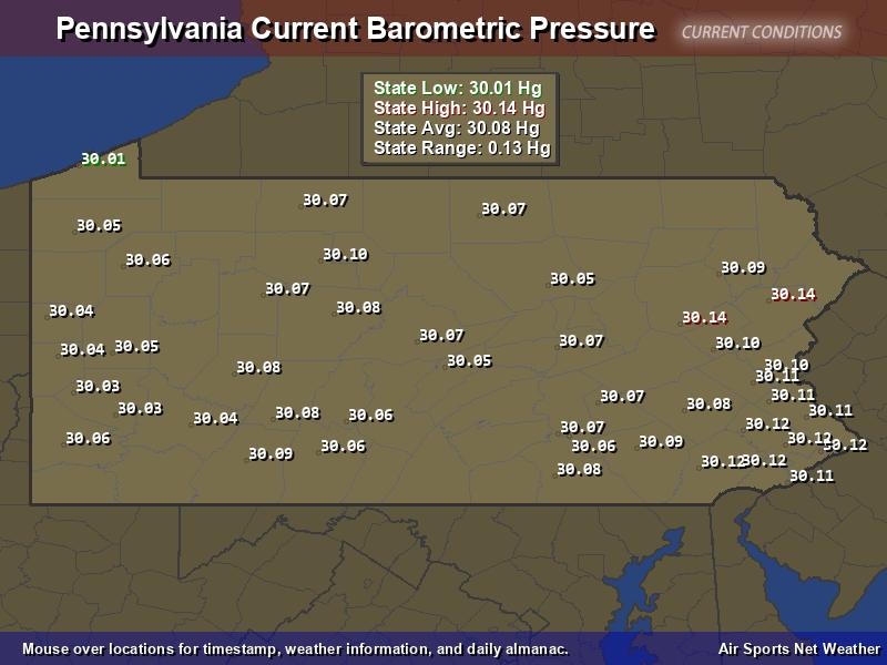 Pennsylvania  Barometric Pressure Map