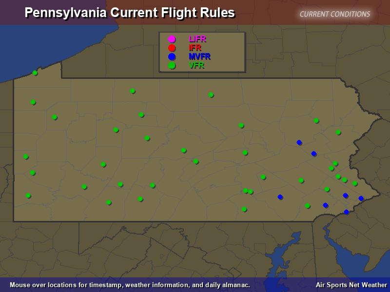 Pennsylvania Flight Rules Map