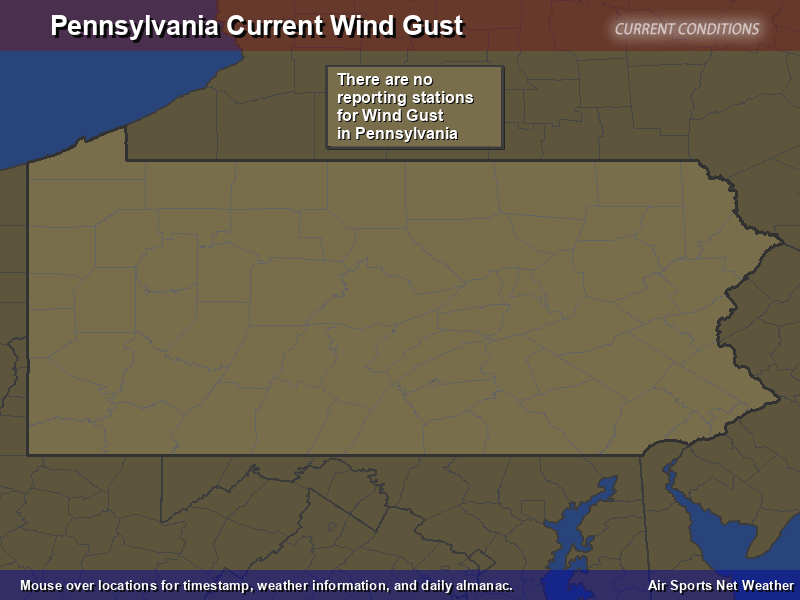 Pennsylvania Wind Gust Map