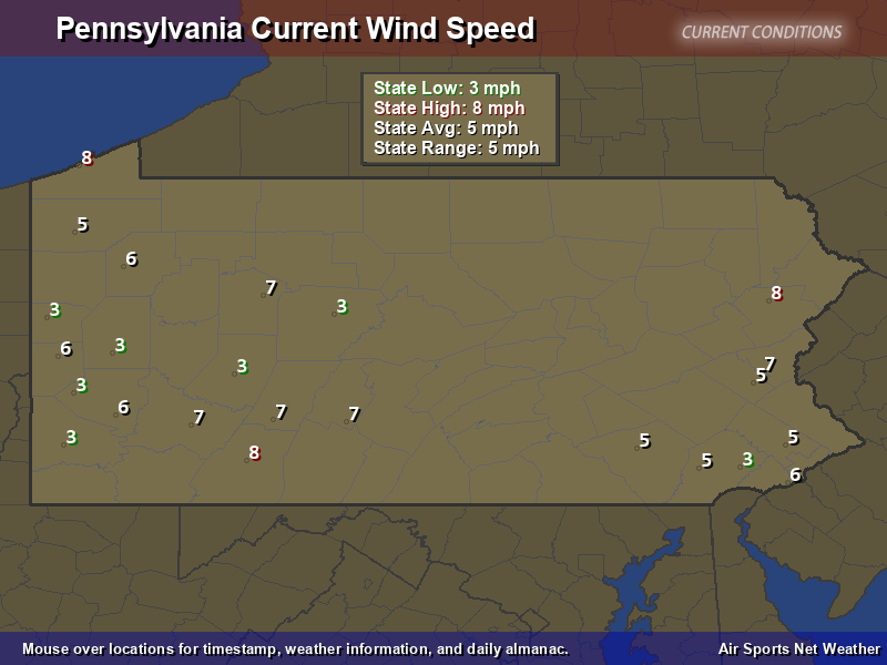 Pennsylvania Wind Speed Map