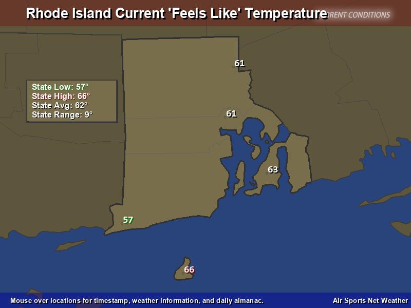 Rhode Island Feels Like Temperature Map