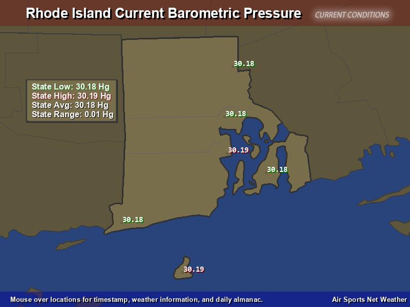 Rhode Island  Barometric Pressure Map