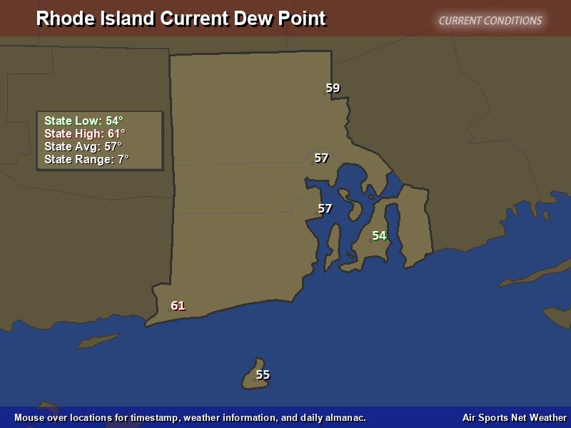 Rhode Island Dew Point Map