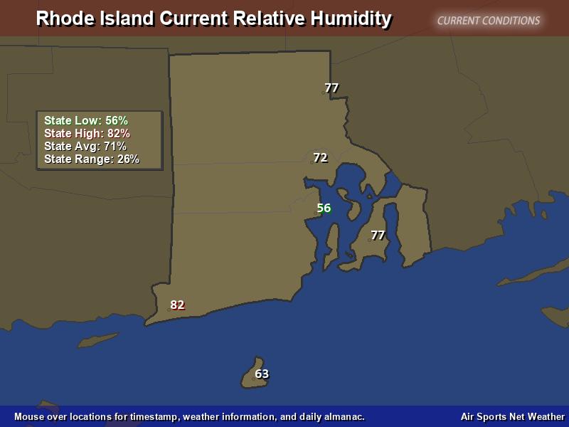 Rhode Island Relative Humidity Map