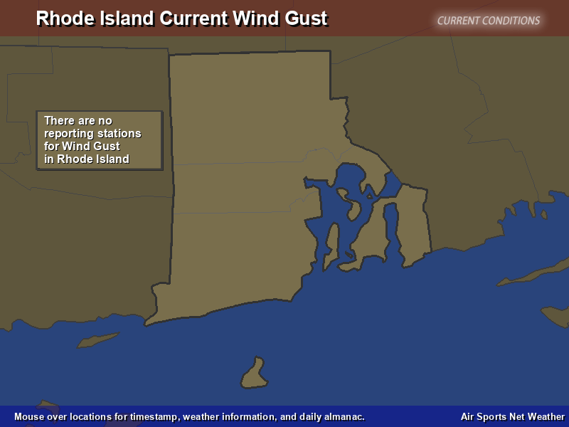 Rhode Island Wind Gust Map