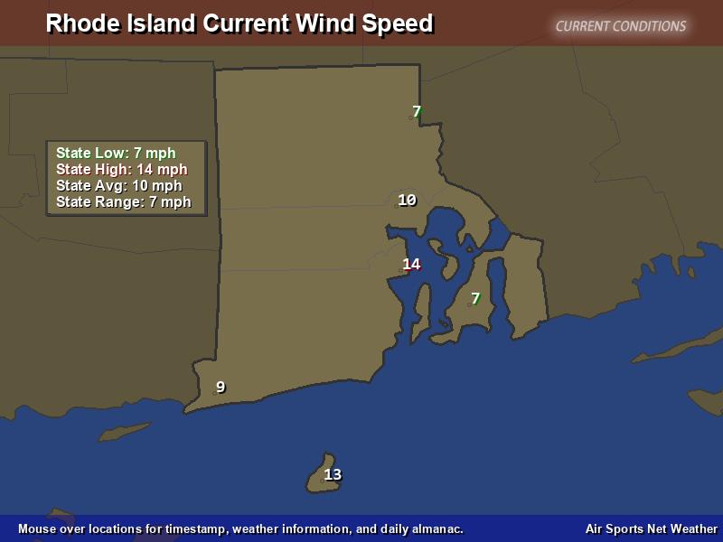 Rhode Island Wind Speed Map