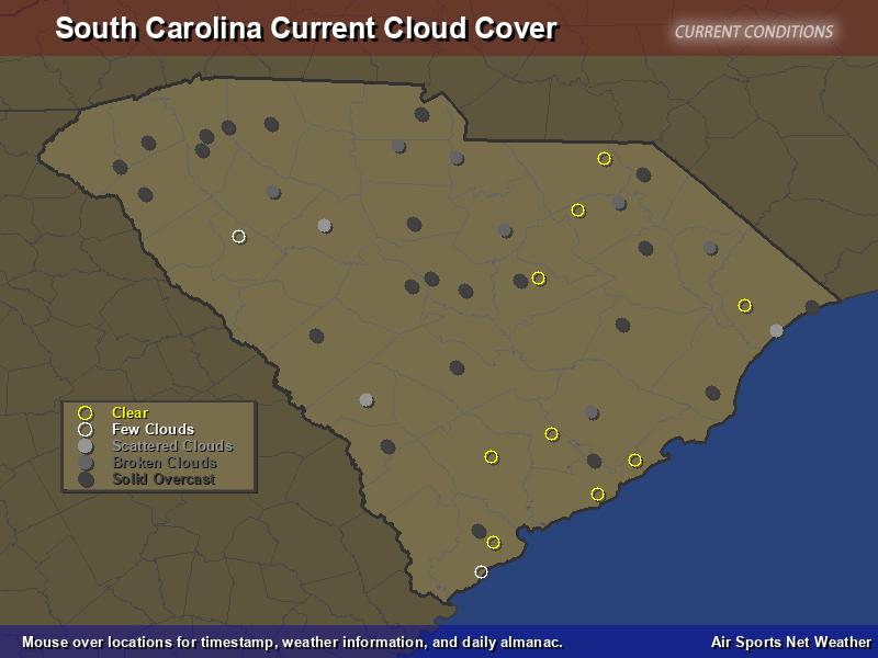 South Carolina Cloud Cover Map