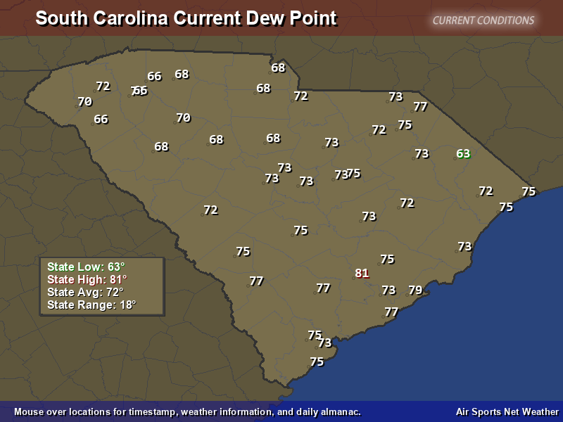 South Carolina Dew Point Map Air Sports Net - Map of dew points us