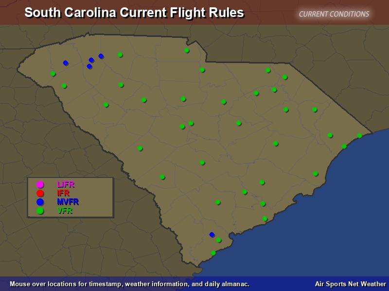 South Carolina Flight Rules Map