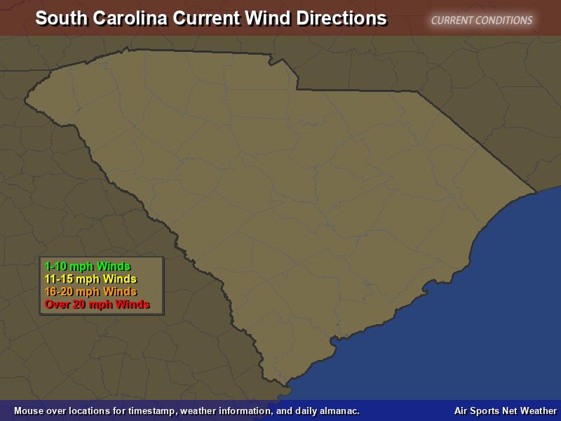 South Carolina Wind Direction Map