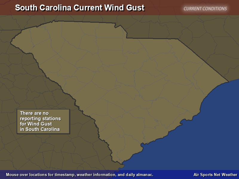 South Carolina Wind Gust Map