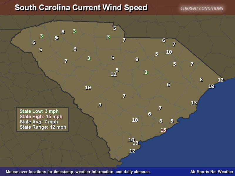 South Carolina Wind Speed Map