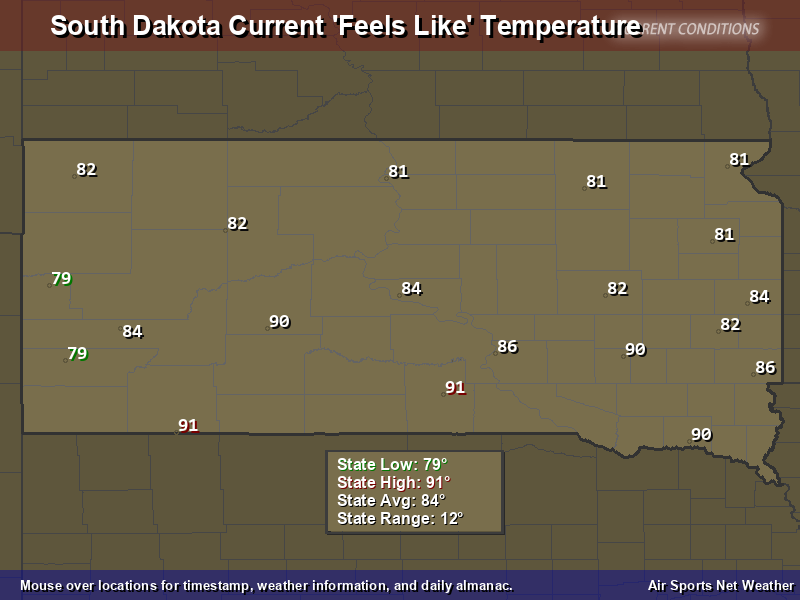 South Dakota Feels Like Temperature Map