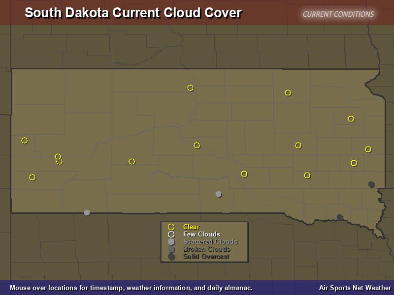 South Dakota Cloud Cover Map