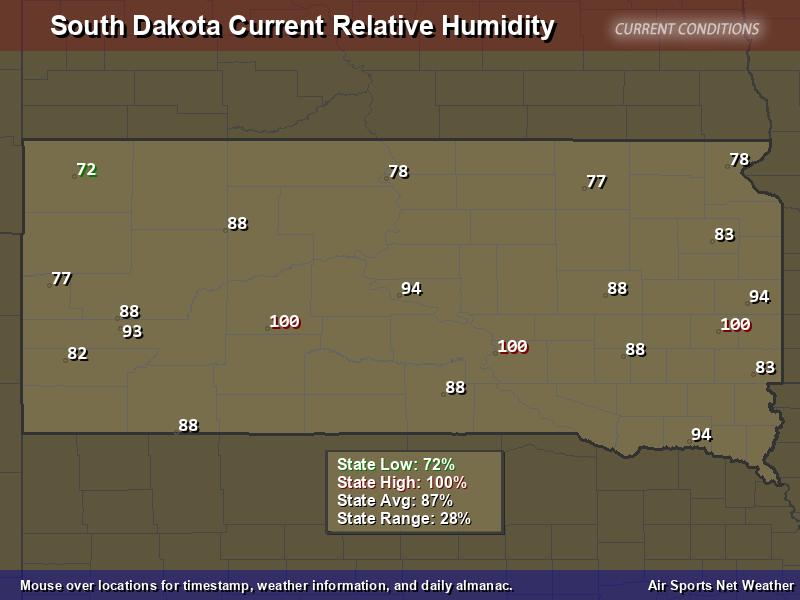 South Dakota Relative Humidity Map