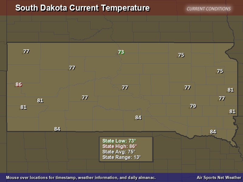 South Dakota Temperature Map