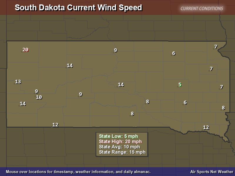 South Dakota Wind Speed Map