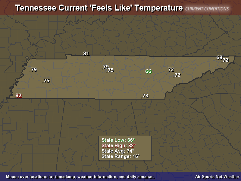 Tennessee Feels Like Temperature Map