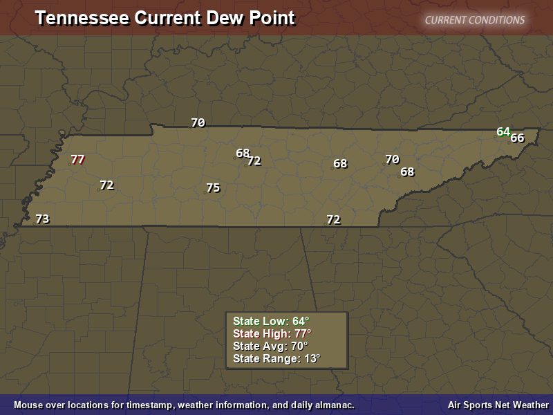 Tennessee Dew Point Map Air Sports Net - Map of dew points us
