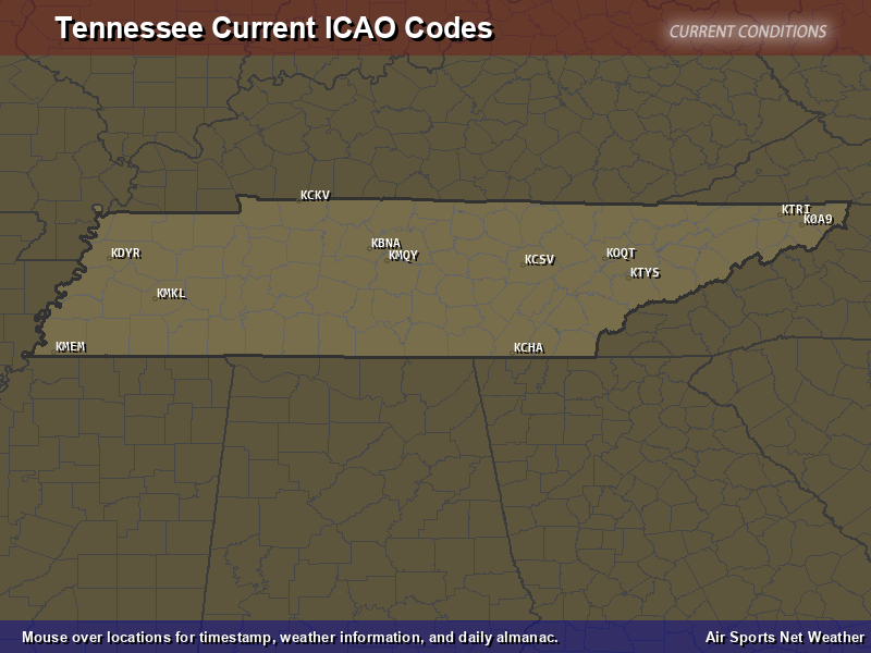 Tennessee ICAO Map