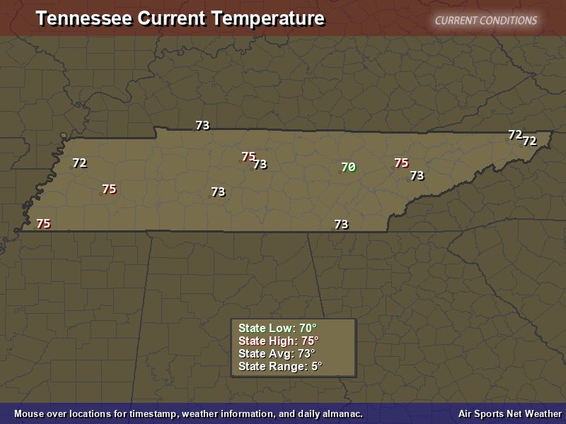 Tennessee Temperature Map