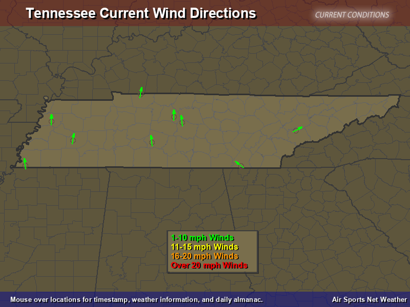 Tennessee Wind Direction Map