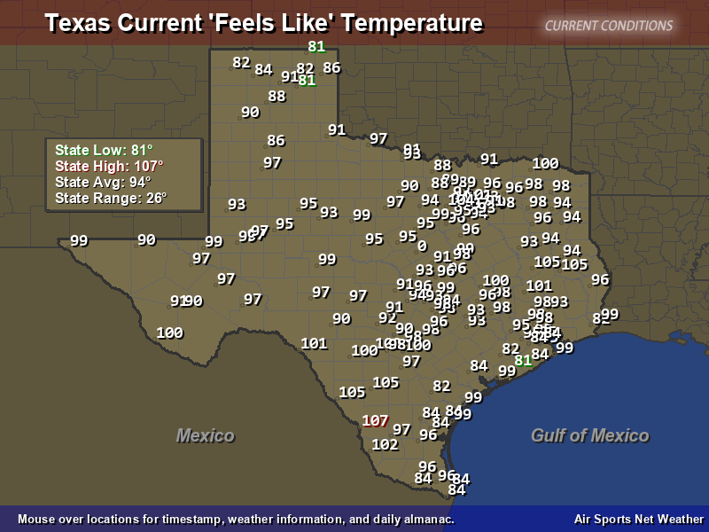 Current Texas Temperature Map Texas Feels Like Temperature Map   Air Sports Net