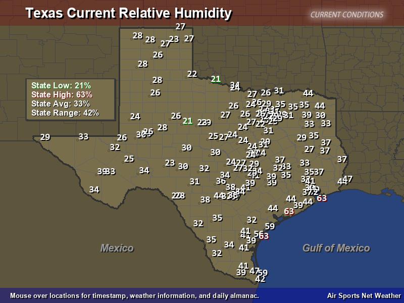 Texas Relative Humidity Map