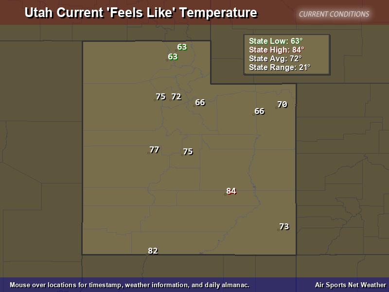 Utah Feels Like Temperature Map