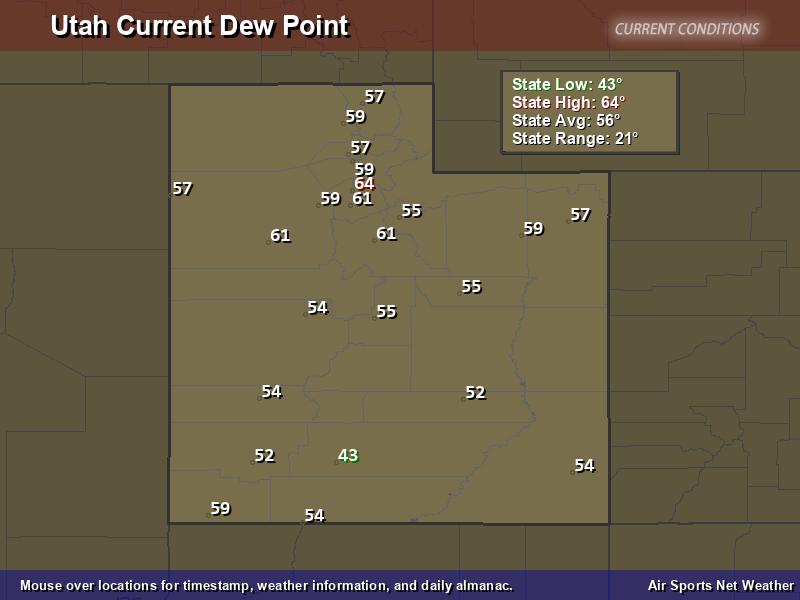 Utah Dew Point Map
