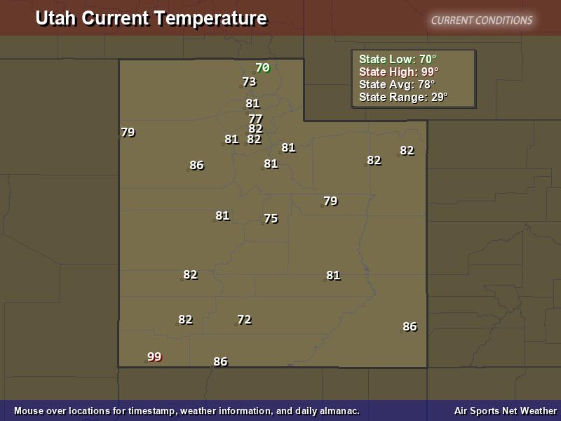 Utah Temperature Map - Air Sports Net