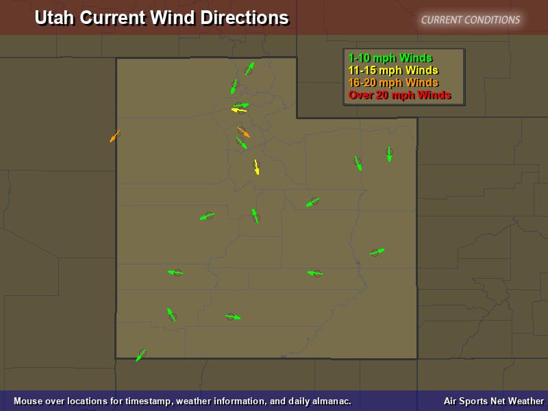 Utah Wind Direction Map