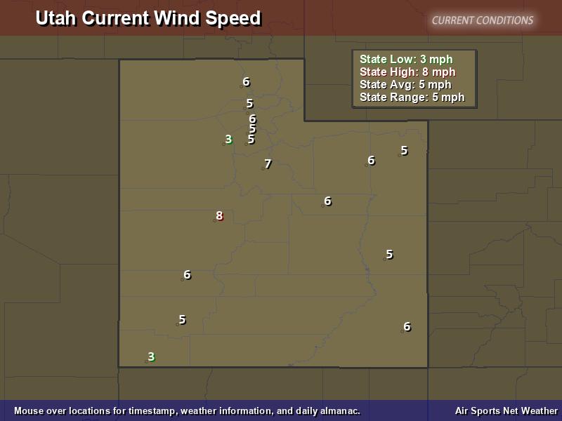 Utah Wind Speed Map
