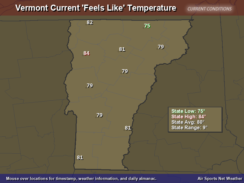 Vermont Feels Like Temperature Map