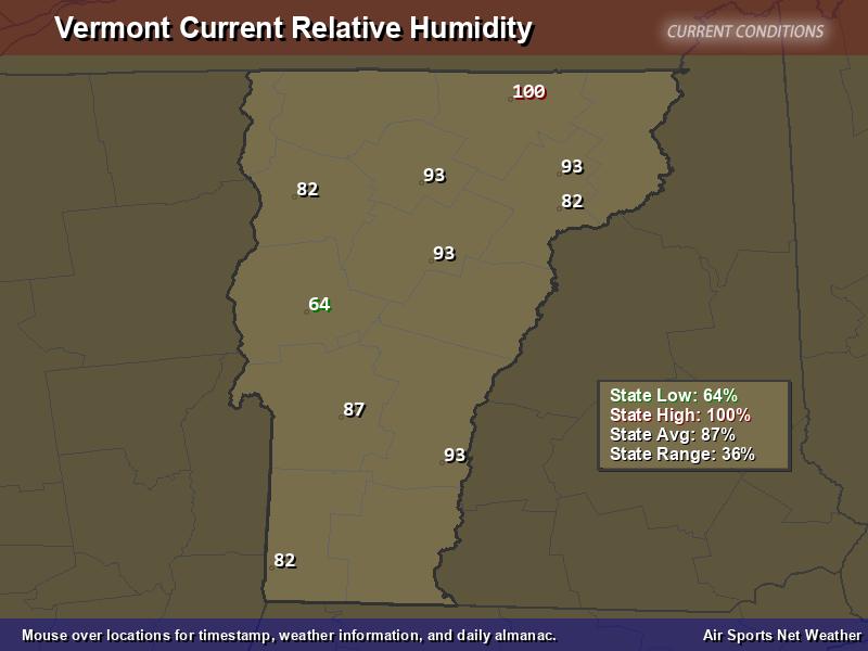 Vermont Relative Humidity Map