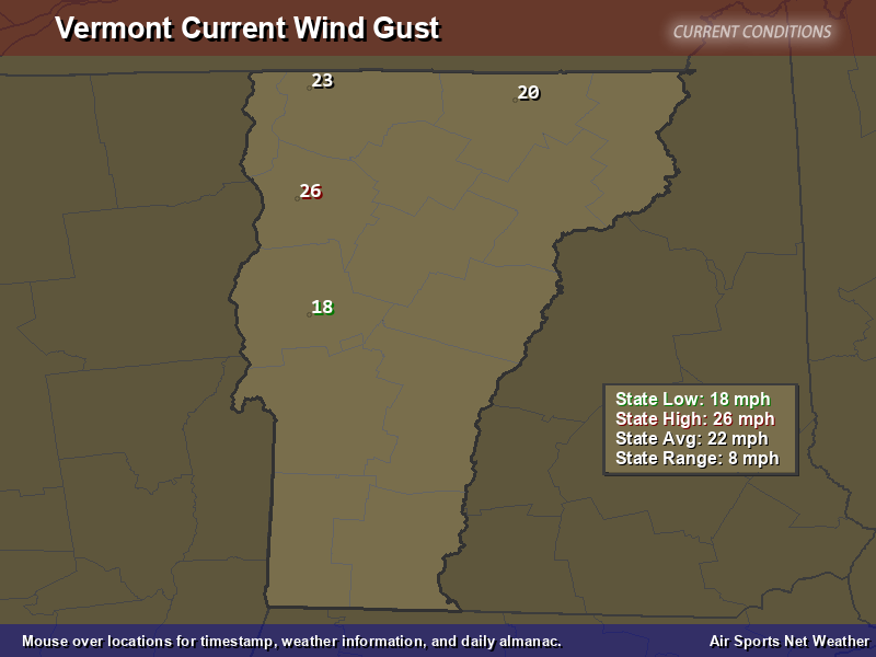 Vermont Wind Gust Map