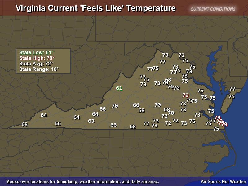 Virginia Feels Like Temperature Map
