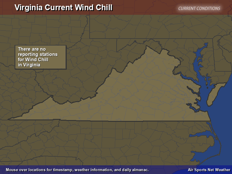 Virginia Wind Chill Map