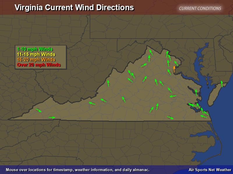 Virginia Wind Direction Map