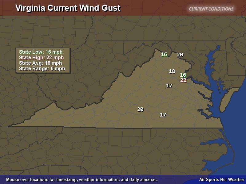 Virginia Wind Gust Map