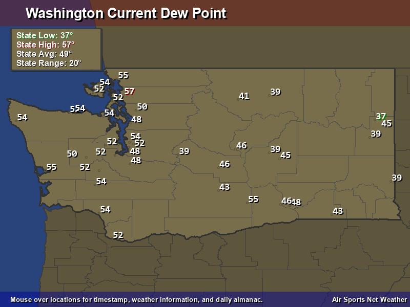 Washington Dew Point Map