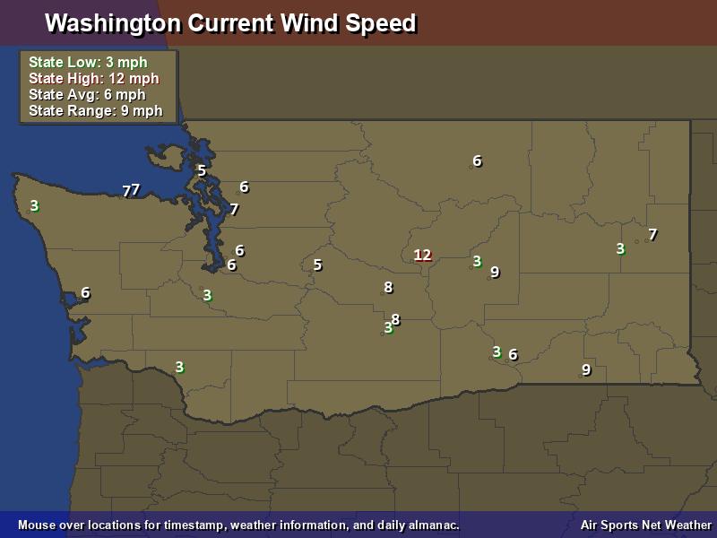Washington Wind Speed Map