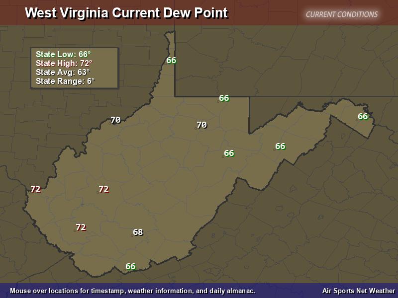 West Virginia Dew Point Map