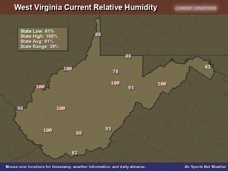 West Virginia Relative Humidity Map Air Sports Net - Us average annual humidity map